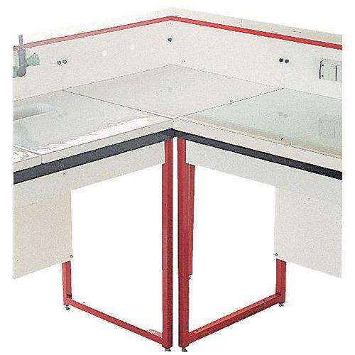 Móvel de canto modular para laboratório - Vidro esmaltado - Com estrutura traseira