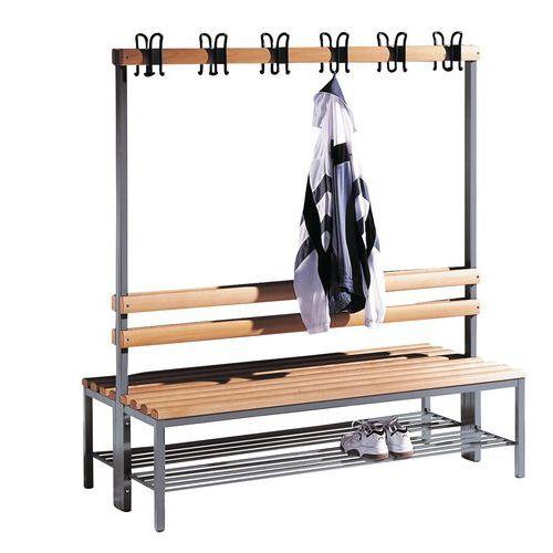 Banco-cabide de madeira CP - 8 a 16 ganchos - Dupla face - Com grelha para calçado