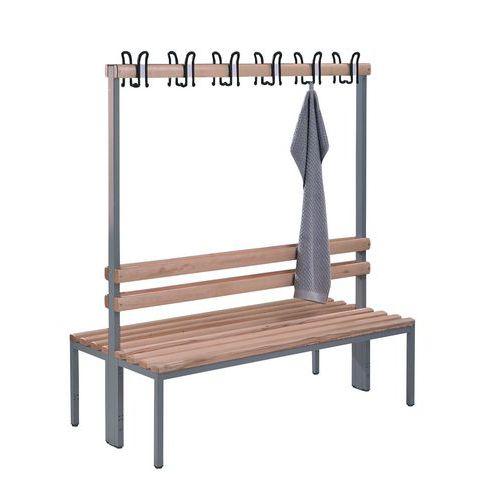 Banco-cabide de madeira CP - 8 a 16 ganchos - Dupla face
