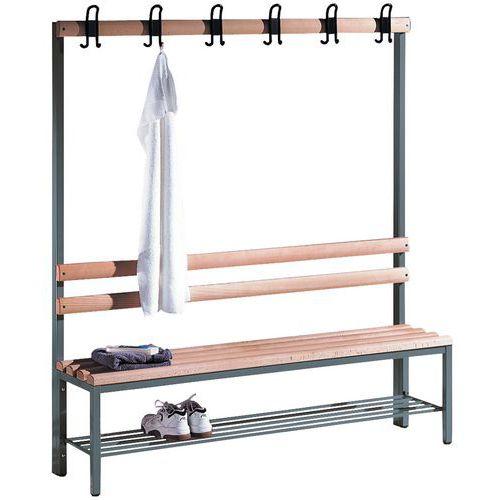 Banco-cabide de madeira CP - 4 a 8 ganchos - Face simples - Com grelha para calçado