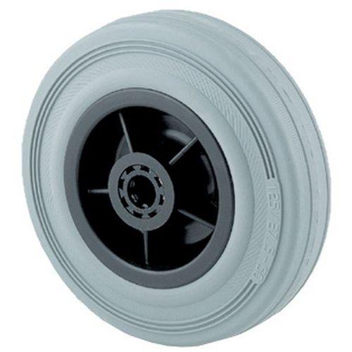 Roda de transporte com pneu em borracha semielástica cinzenta e jante em polipropileno
