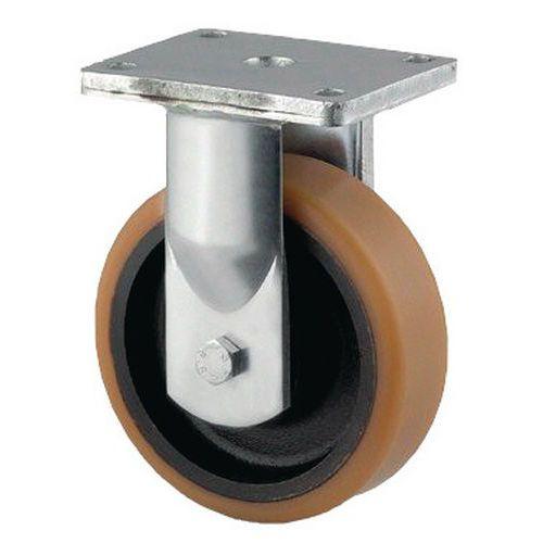 Rodízio com placa para o transporte de cargas pesadas em poliuretano com jante em ferro fundido