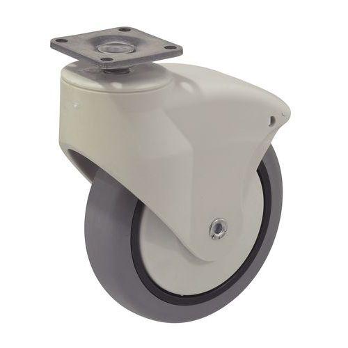 Rodízio giratório com piso em borracha - Capacidade 70 kg - Com placa