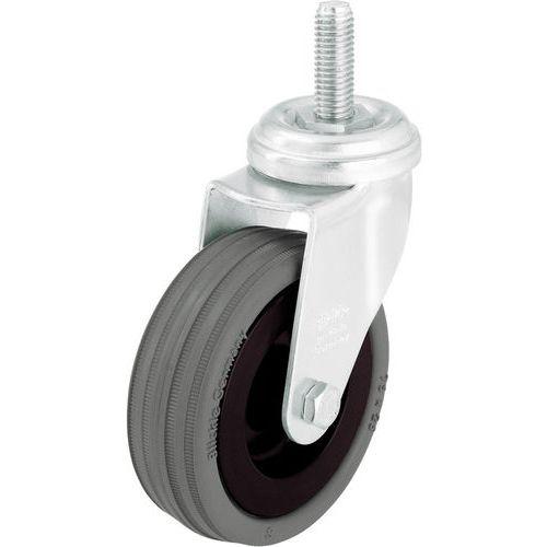 Rodízio giratório com haste roscada M10 x 30 mm - Capacidade de 40 a 70 kg - Giratório