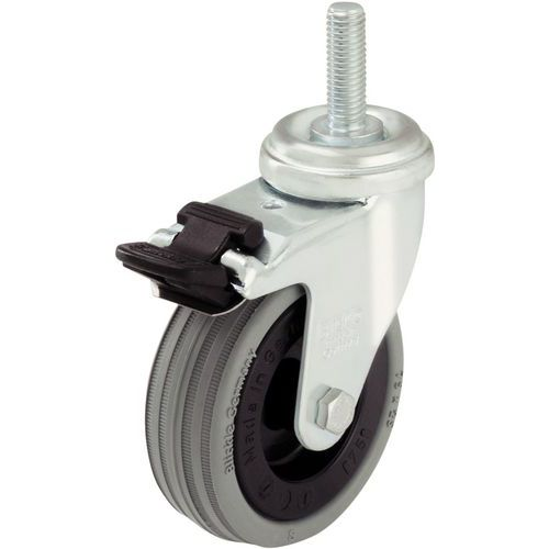 Rodízio giratório com haste roscada M10 x 30 mm - Capacidade de 40 a 70 kg - Giratório com travão