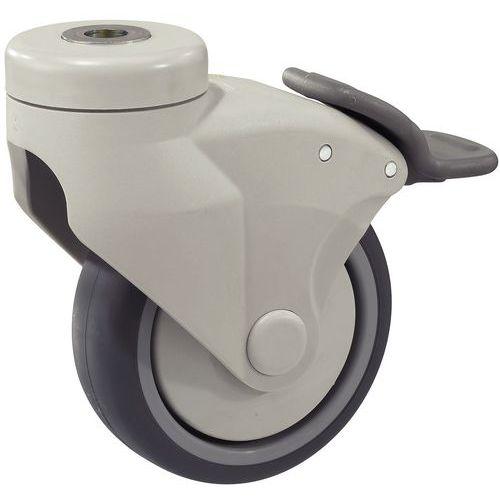 Rodízio fixação com olhal armação nylon - Capacidade 80 a 100 kg - Com travão