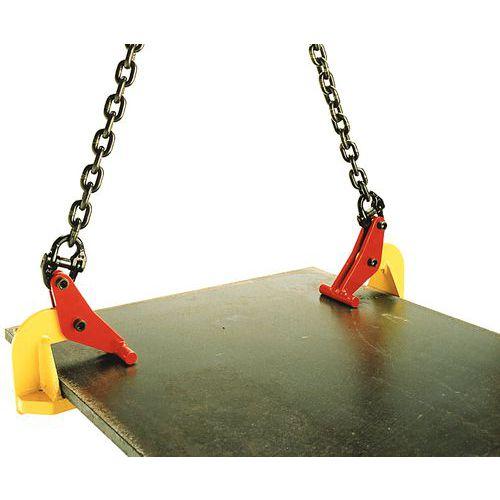 Pinça para elevação de placas horizontais - Capacidade 1.000 a 3.000 kg