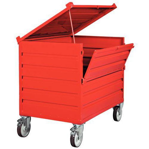 Caixa-palete dobrável empilhável - parede integral, com tampa e parede rebatível - com rodas