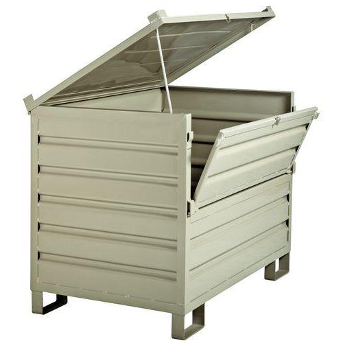 Caixa-palete dobrável empilhável - parede integral, com tampa e parede rebatível - com pés