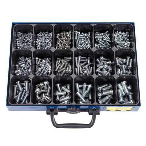 Caixa de parafusos sextavados ocos de cabeça redonda - 582 peças
