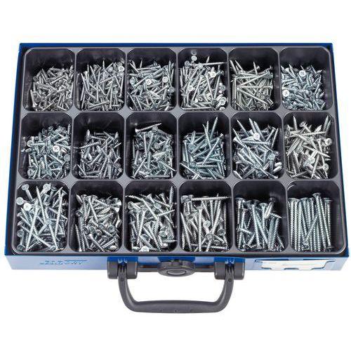 Caixa de parafusos com perfil em cruz Pozidriv® de cabeça fresada, para aglomerado – 1225 peças