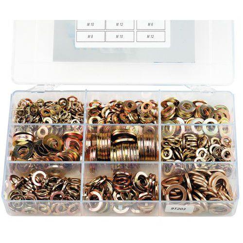 Caixa de anilhas planas e anilhas elásticas sem bico - 630 peças
