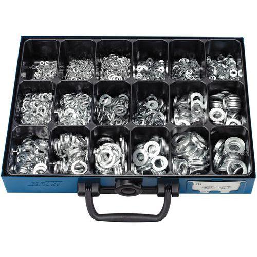 Caixa de anilhas planas e anilhas elásticas sem bico - 1700 peças