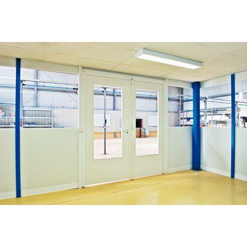 Porta rebatível para divisórias de oficina em melamina - Painel semividrado - Altura 3,03 m