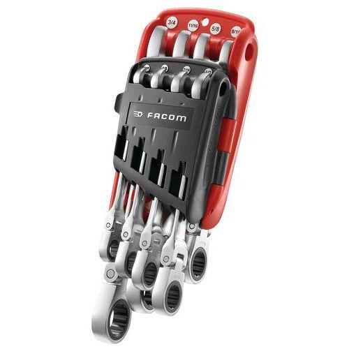 Jogo de chaves mistas articuladas de roquete em polegadas em estojo portátil