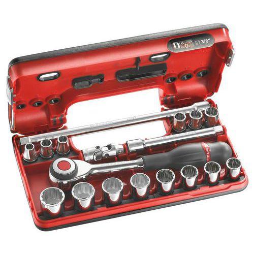 Caixa DBOX de chaves de caixa 3/8 12 faces métricas - 18 peças - J.360DBOX112