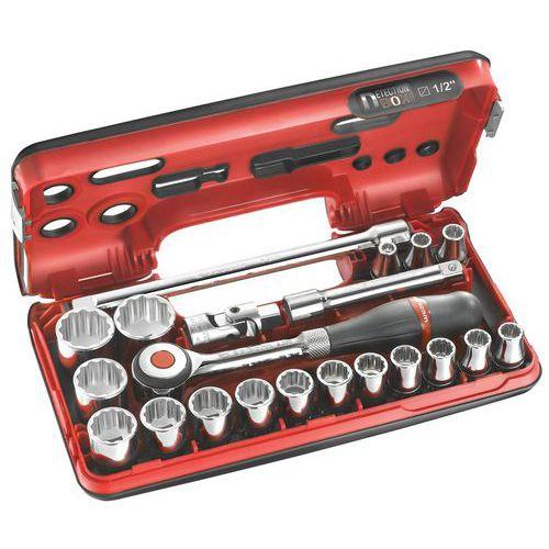 Caixa DBOX de chaves de caixa 1/2 12 faces métricas - 21 peças