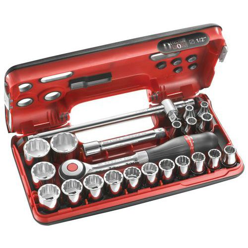 Caixa DBOX de chaves de caixa 1/2 12 faces métricas - 22 peças