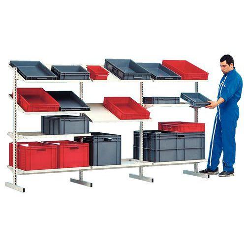 Estante Flexi-Bac - Elemento adicional - com caixas normaliza Europa e prateleira inclinável