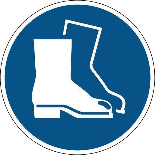 Painel de obrigação redondo - Calçado de segurança obrigatório - Rígido