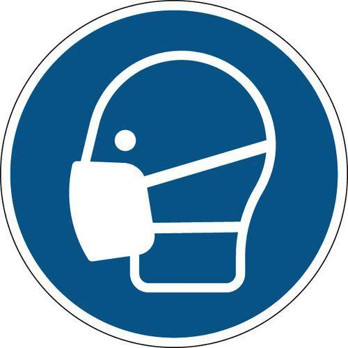 Painel de obrigação redondo - Máscara obrigatória - Rígido