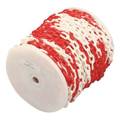 Corrente de plástico em rolo - Vermelho/Branco