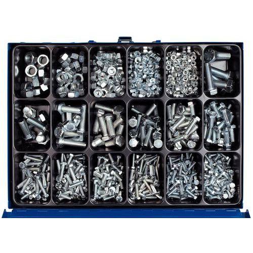 Caixa metálica de parafusos de cabeça sextavada de rosca total com porcas sextavadas - 950 peças