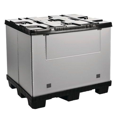 Caixa-palete dobrável Mega Pack – Paredes integrais – 1 lado rebatível
