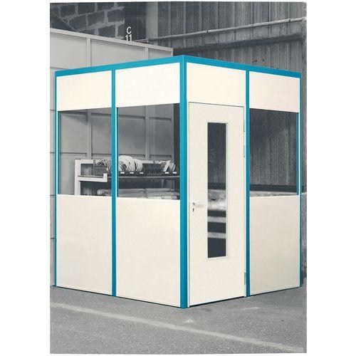 Porta rebatível para divisórias de oficina em melamina - Parede semividrada - Altura 3.01 m