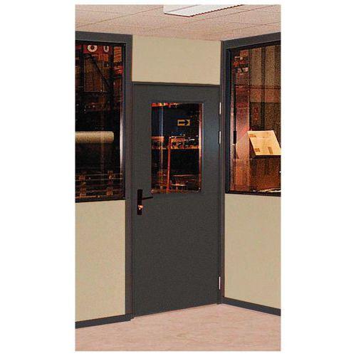 Porta rebatível para divisórias de oficina chapa de aço ou melamina - Painel semi-vidrado - Altura 3 m