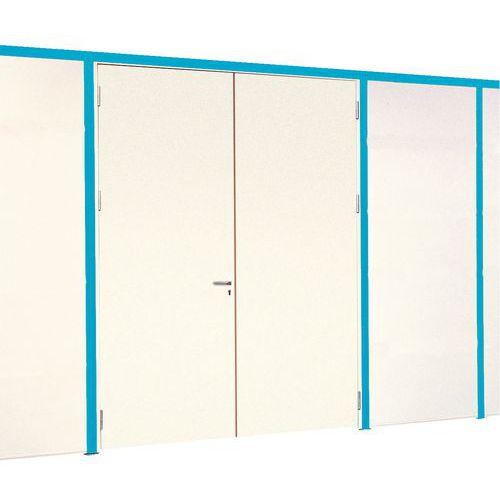 Porta rebatível para divisórias de oficina em melamina - Parede integral - Altura 2.51 m