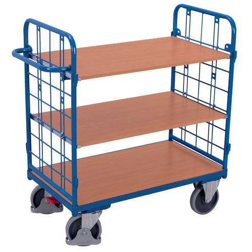 Carro com 3 plataformas em madeira – Barras verticais – Capacidade de 500kg