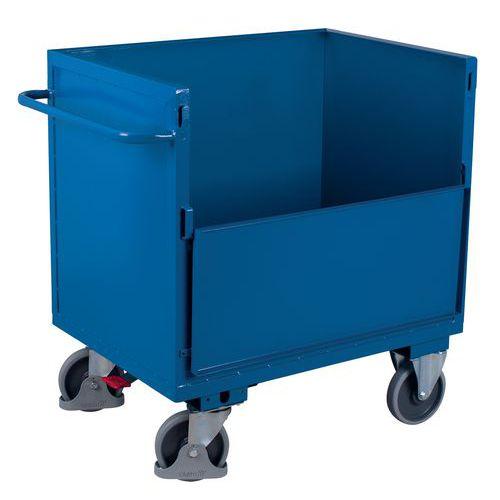 Carro ergonómico de aço sem tampa – 1 parede semirrebatível – 500kg