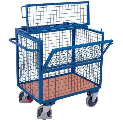 Carro ergonómico de aço com caixa – 1 parede semirrebatível – Capacidade de 500kg
