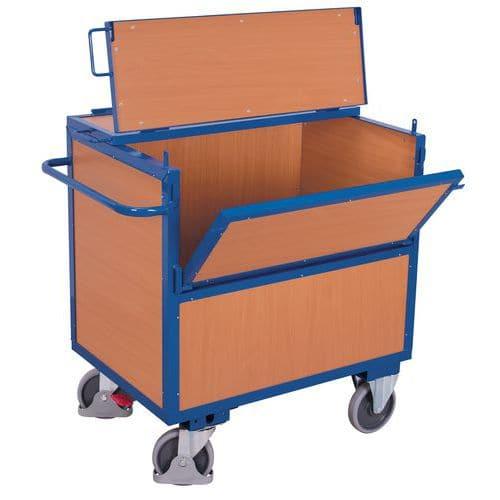 Carro ergonómico de madeira com caixa – 1 parede semirrebatível – capacidade de 500kg