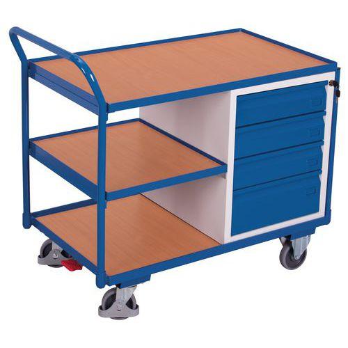 Carro ergonómico com 3 plataformas em madeira e bloco de gavetas – Capacidade de carga de 250kg