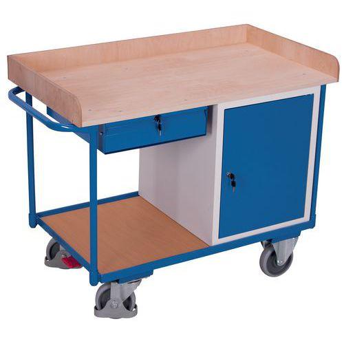 Carro ergonómico com plataformas em madeira – Bloco-cofre – Gaveta – 400kg