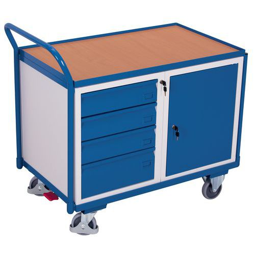 Carro de plataformas em madeira – Bloco-cofre – Bloco de gavetas – 250kg