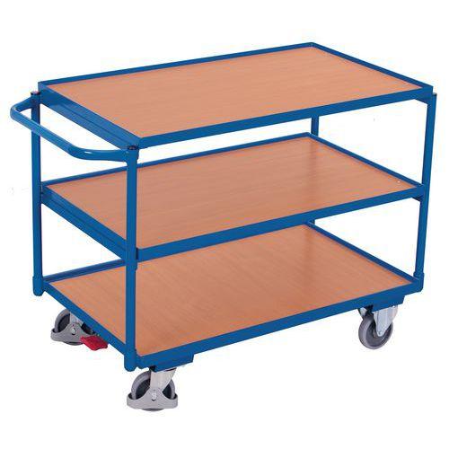 Carro ergonómico com 3 plataformas em madeira – Barra horizontal – Capacidade de carga de 250kg