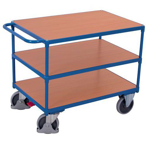Carro ergonómico com 3 plataformas em madeira – Barra horizontal – Capacidade: 500kg