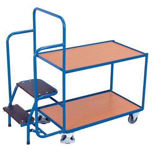 Carro de plataformas em madeira com miniescadote – Capacidade de 250kg