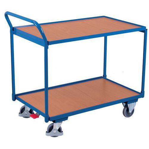 Carro ergonómico em madeira com 2 plataformas – Barra vertical – Capacidade de carga de 250kg