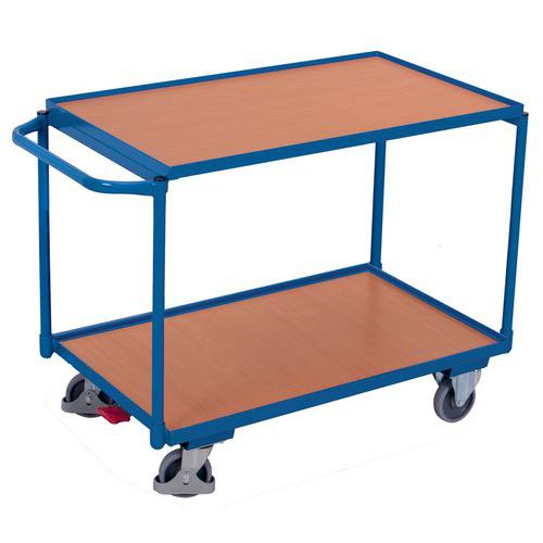 Carro ergonómico com 2 plataformas em madeira – Barra horizontal – Capacidade de carga de 250kg