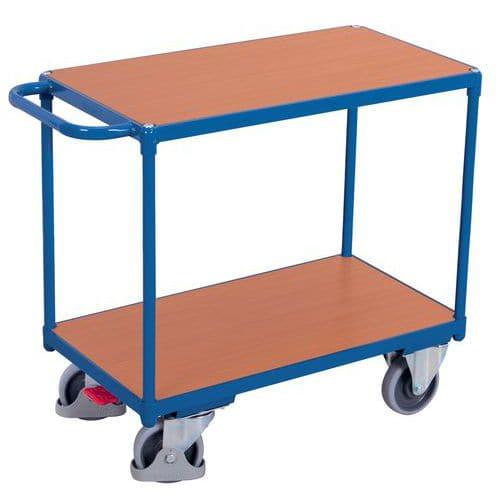 Carro ergonómico com 2 plataformas em madeira – Barra horizontal – Capacidade de carga de 500kg