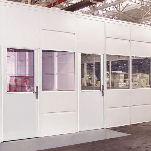 Porta rebatível para divisórias de oficina em chapa de aço - Painel vidrado - Altura 3.01 m