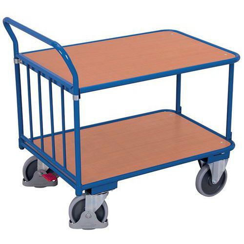 Carro ergonómico em madeira com 2 plataformas – Barra vertical – Capacidade de carga de 400kg
