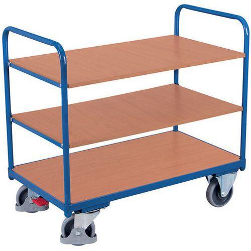 Carro ergonómico em madeira com 3 plataformas – Barras verticais – Capacidade de carga de 250kg