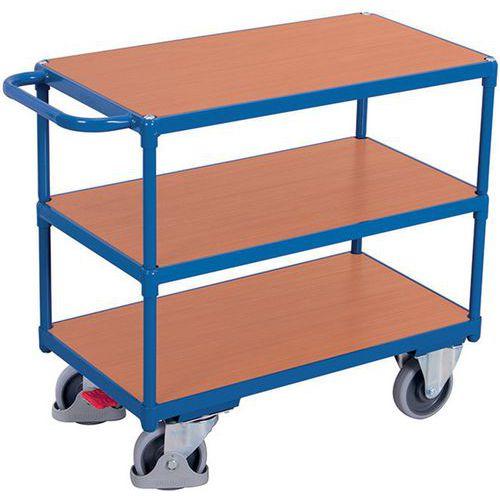Carro ergonómico com 3 plataformas em madeira – Barra horizontal – Capacidade de carga de 400kg