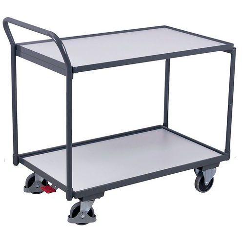 Carro ergonómico com 2 plataformas em madeira ESD – Barra vertical – Capacidade de 250kg