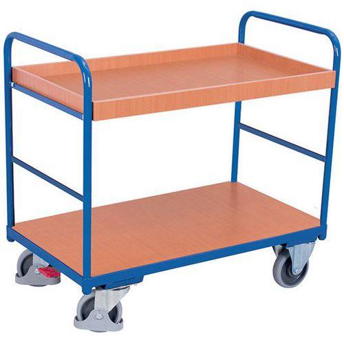 Carro ergonómico em madeira com 2 plataformas – Barras verticais – Capacidade de carga de 250kg